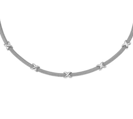 Italian Silver Double Foxtail X Necklace Sterling, 9.5g