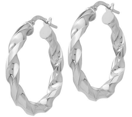 Italian Silver Twisted Hoops, Sterling