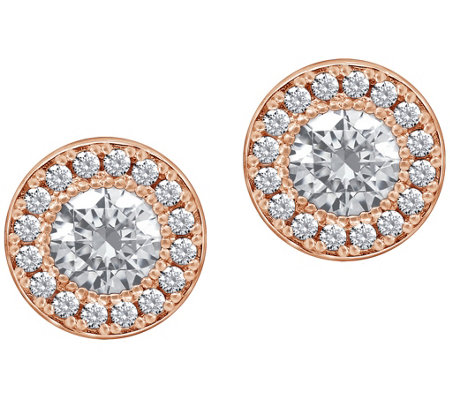 Diamonique 2.45 cttw Round Halo Stud Earrings,14K Clad