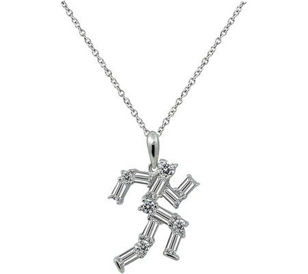 Diamonique Sterling Runner Pendant with Chain