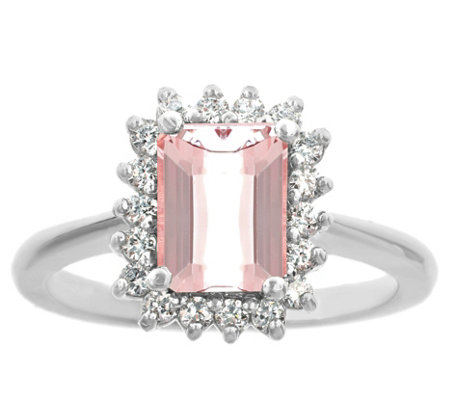 14K Gold 1.20 cttw Emerald-Cut Morganite Halo Ring