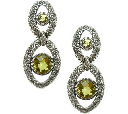 Elyse Ryan Sterling 3.50 cttw Olive Quartz DropEarrings