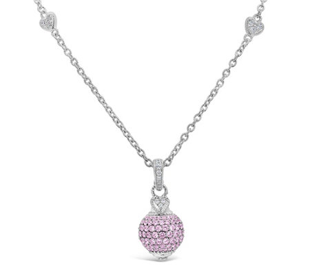 Judith Ripka Sterling Silver Pink Diamonique Enhancer w/ Chain