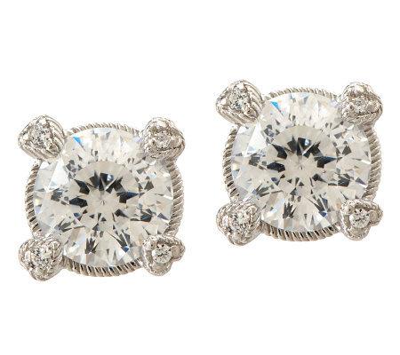 Judith Ripka Sterling 3 00ct 100 Facet Diamonique Stud Earrings