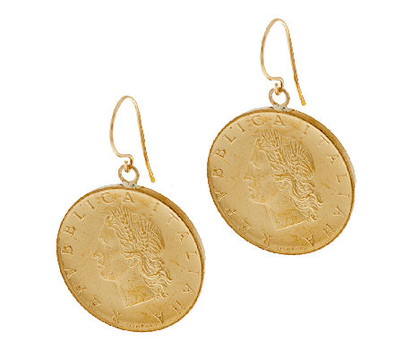 Vicenzagold 20 Lire Coin Dangle Earrings 14k Gold