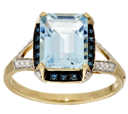 Aquamarine Emerald Cut & 1/5cttw Diamond Ring, 14K Gold 2.30 ct