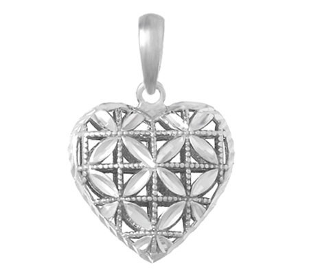 Sterling Diamond Cut Dimensional Heart Pendant
