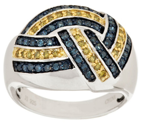 """As Is"" Yellow & Blue Woven Diamond Ring, Sterling 1/2ct by Affinity"