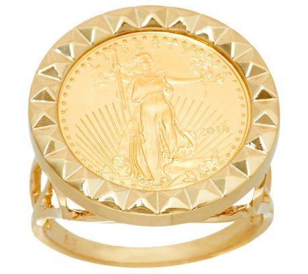 14K/22K Gold Polished Bold Liberty Coin Ring