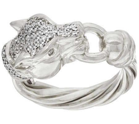 """As Is"" Italian Silver Sterling Diamonique Panther Head Ring"