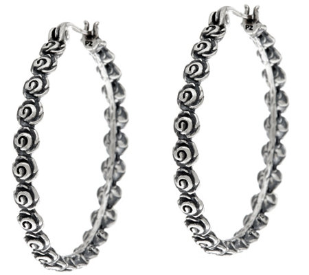 "Or Paz Sterling Silver Gathered Rose 1-1/4"" Round Hoop Earrings"