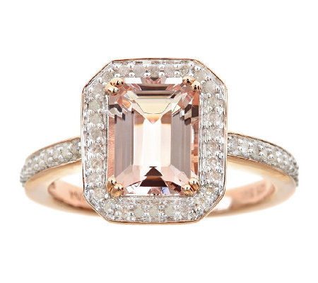 1.65cttw Morganite & Pave Diamond Halo Ring, Sterling 14K Ros