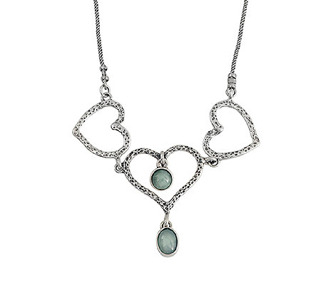 Or Paz Sterling Aventurine and Heart Station Necklace