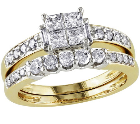 Cluster Diamond Ring Set, 14K Yellow Gold, by Affinity