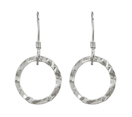 Sterling Hammered Dangle Earrings