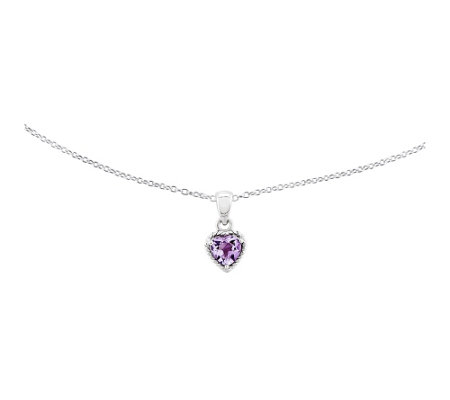 "Sterling Amethyst Heart Pendant with 18"" Necklace"