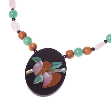 Lee Sands Floral Inlay Wood Bead 19 Necklace