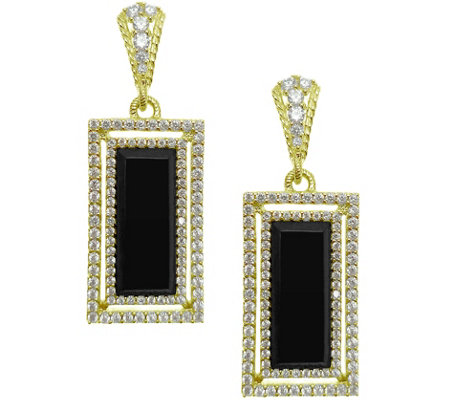 Judith Ripka 14K Clad Onyx & Diamonique Earrings