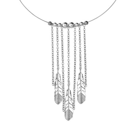 American West Sterling Silver Feather Choker Necklace
