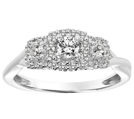 Pave Halo Three Stone Diamond Ring, 14K, 1/3 cttw, by Affinit
