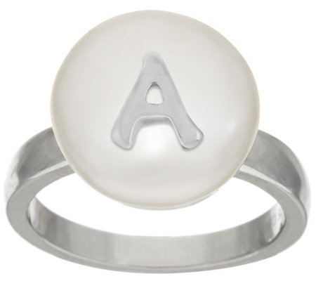 """As Is"" Honora Cultured Pearl 13.0mm White Coin Initial Sterling Ring"