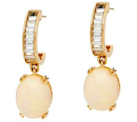 Ethiopian Opal & Baguette White Zircon Drop Earrings, 14K Gold