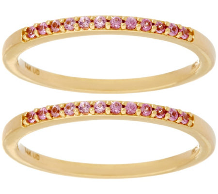 """As Is"" Set of 2 Pink Sapphire Band Rings, 14K Gold 0.20 cttw"