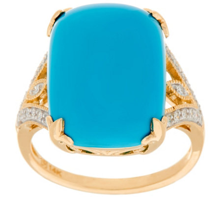 Sleeping Beauty Turquoise & Diamond Ring 14K Gold