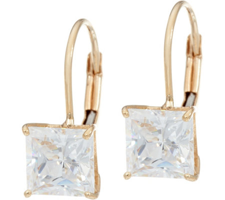 Diamonique 2.00 cttw Princess Leverback Earrings, 14K