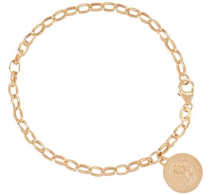 """As Is"" Italian Gold 6-3/4"" Rolo Link Saint Charm Bracelet, 2.9g"