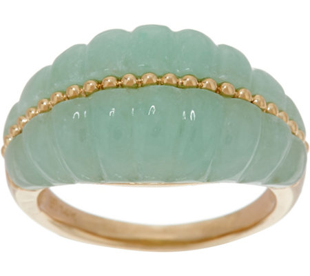 Jade Carved Band Ring, 14K Gold