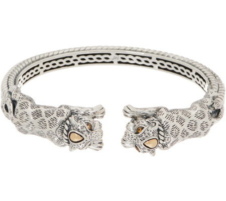 JAI Sterling Silver & 14K Gold Double Leo Cuff, 38.5g