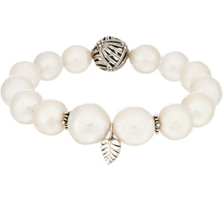 Stephen Dweck Sterling Silver Cultured Pearl Stretch Bracelet