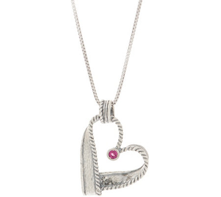 Or Paz Sterling Silver Gemstone Accent Heart Pendant with Chain