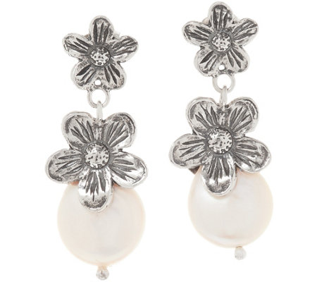 Or Paz Sterling Silver Cultured Pearl Flower Earrings