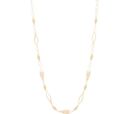 "Italian Gold 28"" Openwork Station Necklace, 14K Gold 16.9g"
