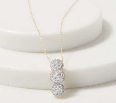 Affinity 14k Gold Round Diamond Cluster Necklace 3 4 Cttw