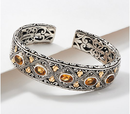 Artisan Crafted Sterling Silver & 18K Gold Gemstone Scroll Cuff