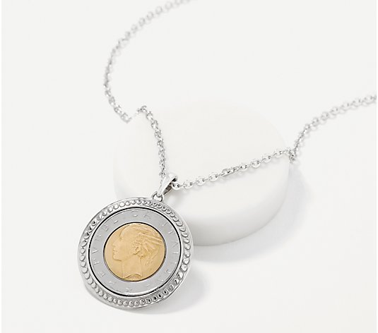 Italian Silver Bezel Set 500 Lire Coin Pendant with Chain