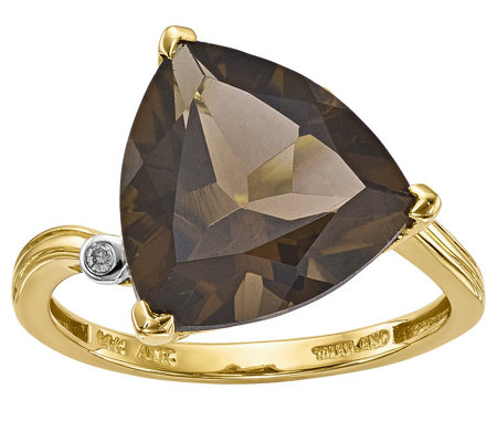 14K 5.00 Smoky Quartz & Diamond Accent Ring