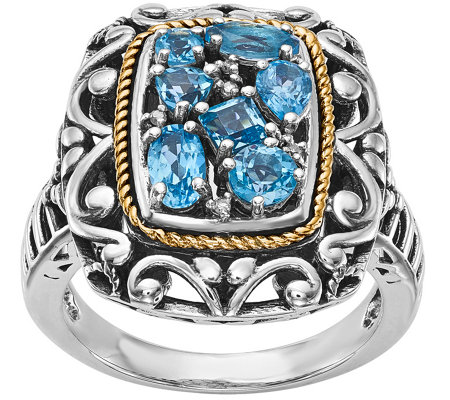 Sterling & 14K 1.15 ct Blue Topaz & Diamond Accent Ring