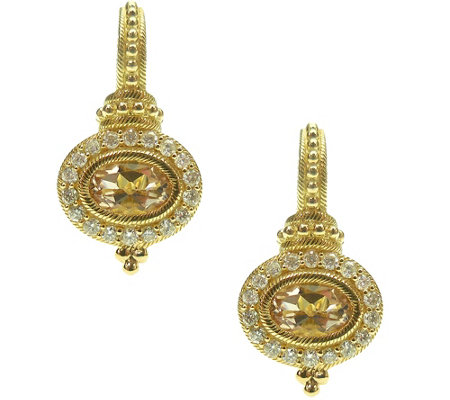 Judith Ripka 14K Gold Morganite & Diamond Earrings
