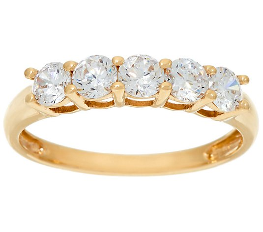 Diamonique 5-Stone Band Ring, 14K Gold
