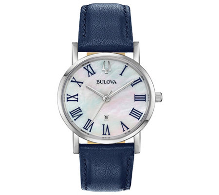Bulova Women's Classic Slim-Profile Blue Leather Strap Watch