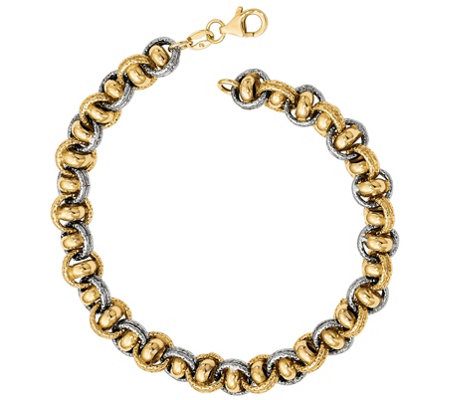 Italian Two Tone Double Rolo Link Bracelet 14k