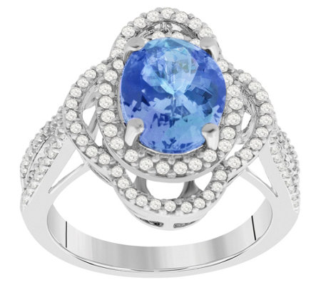 Sterling Silver 2 75 Cttw Tanzanite White Zircon Ring