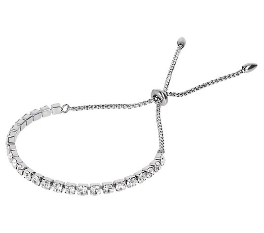 Steel by Design Crystal Adjustable Friendship Bracelet