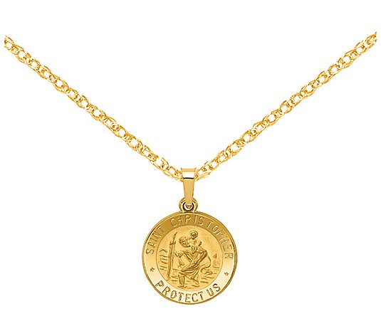 FB Jewels 14K Yellow Gold Solid Polished Tiny 4-Way Medal Pendant