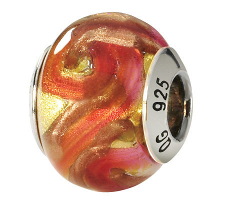 Prerogatives Sterling Yellow/Orange Italian Murano Glass Bead