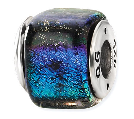 Prerogatives Sterling Blue & Purple Dichroic Glass Square Bead